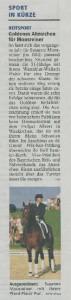 Tegernseer Zeitung vom 02.07.2012 über Sunnys Goldenes Reitabzeichen