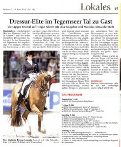 Münchner Merkur vom 30.06.2010 | Dressurfestival 2010